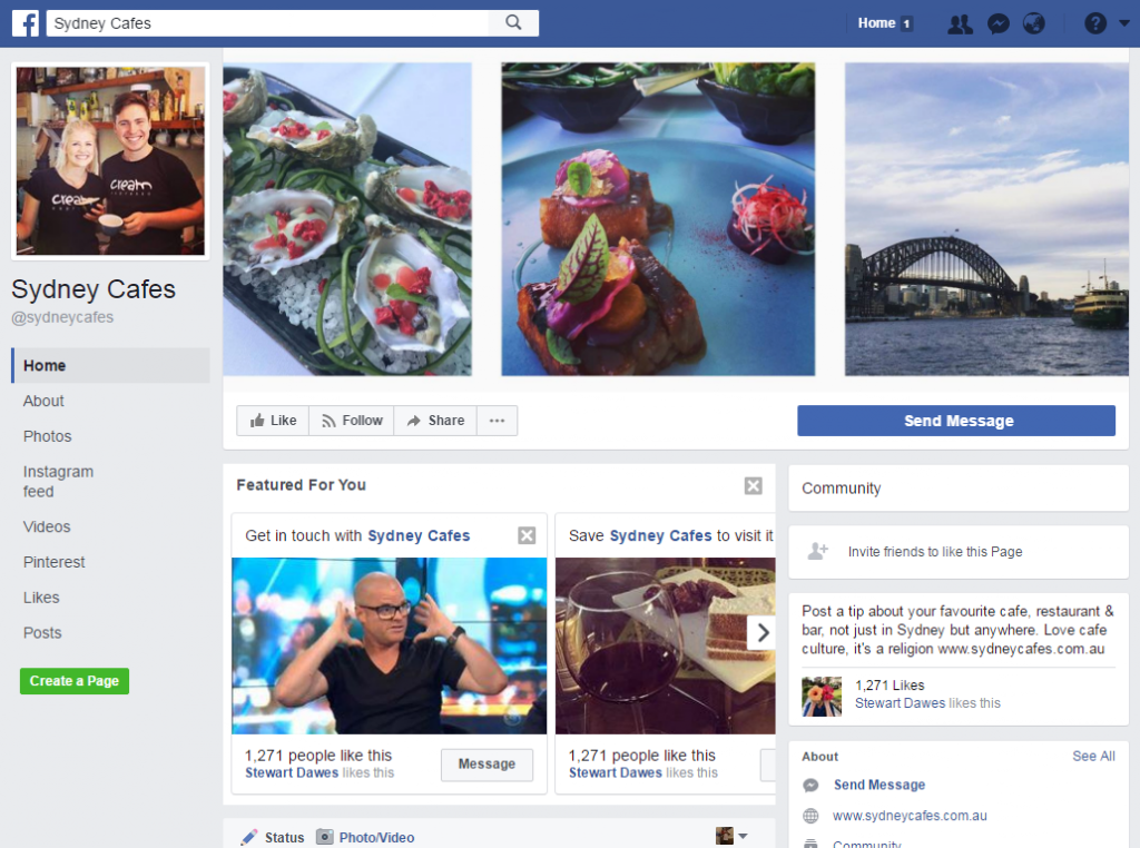 sydney cafes facebook page